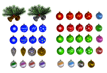 3D Christmas decorations designed with clipping path photo