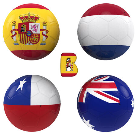 balls with flags of the football teams that make up the b group of world cup 2014 brazil isolated with clipping path photo