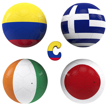 balls with flags of the football teams that make up the c group of world cup 2014 brazil isolated with clipping path photo