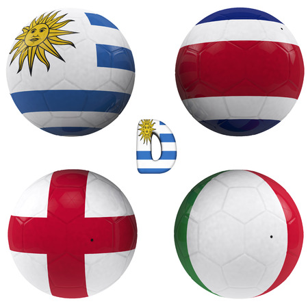 balls with flags of the football teams that make up the d group of world cup 2014 brazil isolated with clipping path photo