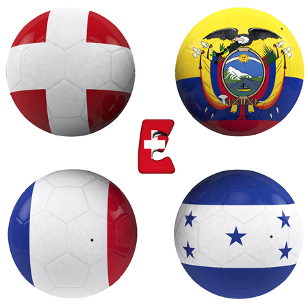 balls with flags of the football teams that make up the e group of world cup 2014 brazil isolated with clipping path photo