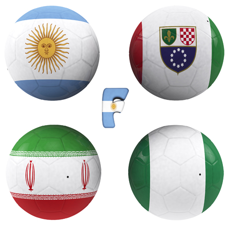balls with flags of the football teams that make up the f group of world cup 2014 brazil isolated with clipping path photo