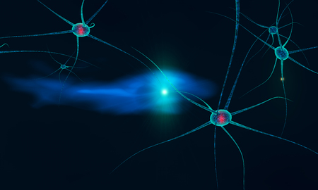 dendrite: breakdown of communication between neurons made in 3d  Stock Photo