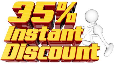 rebates: concepto de venta con instant�nea de texto 35 por ciento de descuento con el hombre de escalada y trazado de recorte Foto de archivo