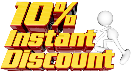 rebates: sale concept with text instant 10 percent discount with man climbing and clipping path