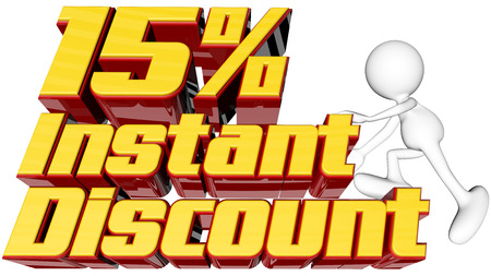 rebates: sale concept with text instant 15 percent discount with man climbing and clipping path  Stock Photo