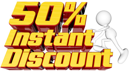 rebates: sale concept with text instant 50  discount with man climbing and clipping path  Stock Photo