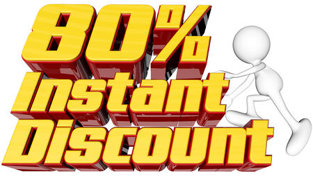 rebates: sale concept with text instant 80 percent discount with man climbing and clipping path