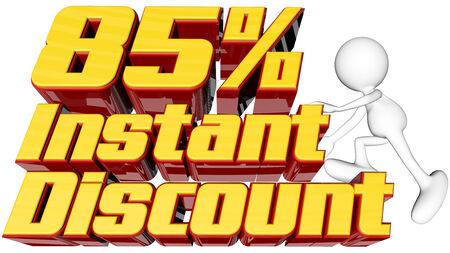 rebates: concepto de venta con instant�nea de texto 85 por ciento de descuento con el hombre de escalada y trazado de recorte Foto de archivo