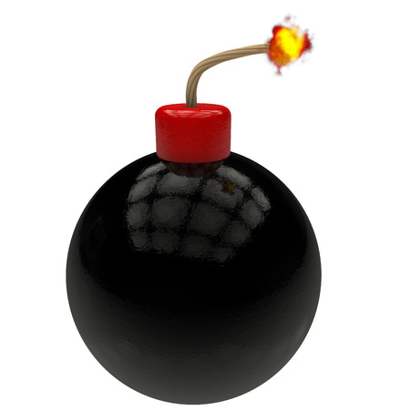 mecha: pump on black and red ball wick rendered in 3d Stock Photo