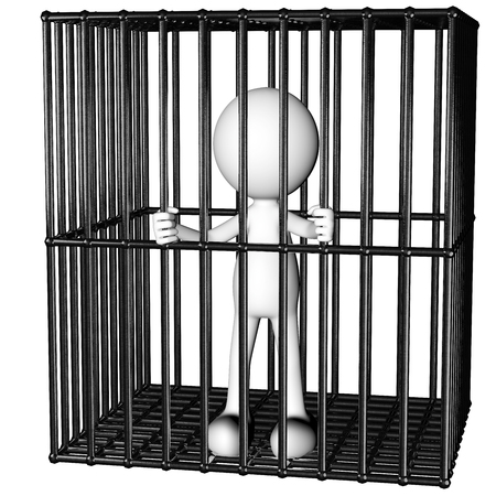 incommunicado: funny man prisoner in a jail generated 3D