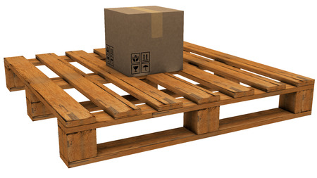 take charge: pallet with a box 3d rendering