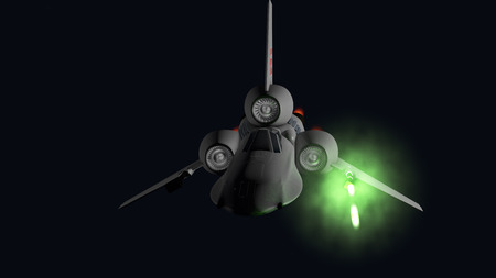 starfighter front firing their guns 3D rendering photo