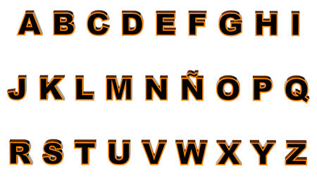 bicolor: uppercase alphabet 3d rendering with.