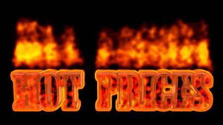 rebates: Prices burning hot text 3d rendering. Stock Photo