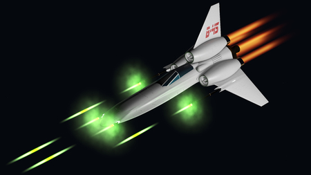 starfighter shooting his four guns 3D rendering photo