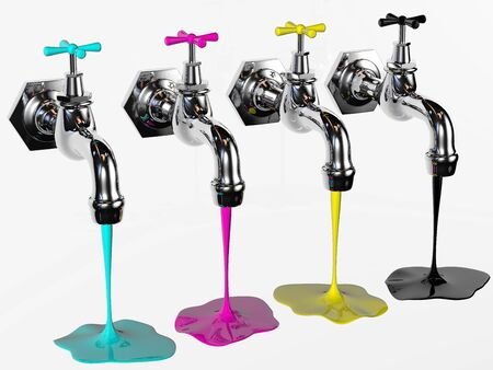 yellow paint: faucets with cyan magenta yellow and black rendered in 3d  Stock Photo