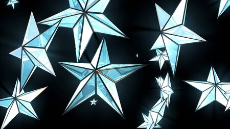 blue lights: fonde screen glass stars with blue lights rendered in 3d  Stock Photo