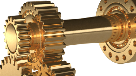 machine made: machine concept made with golden gears 3d rendered with