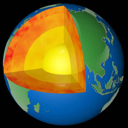 sectioned planet earth with its layers of composition rendered in 3d