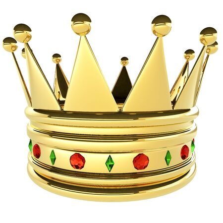 blazonry: 3d rendered royal crown with gems of green and red  Stock Photo