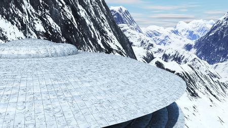 incursion: ovni among the snowy mountains of the earth 3d rendering Stock Photo