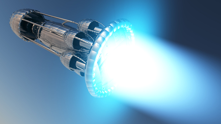 off path: interstellar rocket taking off and out of the atmosphere 3D rendering with clipping path
