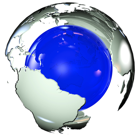 lithosphere: map of the land surrounding area of blue 3d rendering