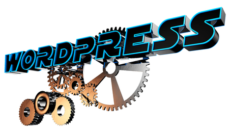 wordpress: Text wordpress with steel gears 3d rendering