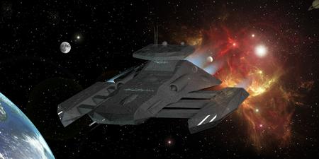invader: Star Destroyer in deep space 3d rendering