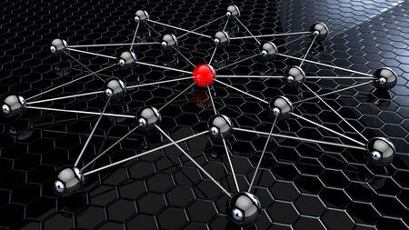network concept balls connected in a star 3d rendering