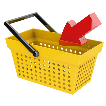 intake: concept of online shopping with basket and arrow 3d rendering with clipping path Stock Photo