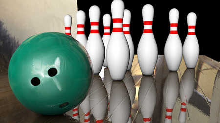 Foreground game of bowling with ball and ten pins 3d rendering