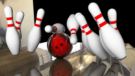 destroying the competition: knocking down all ten pins in a row 3d rendering
