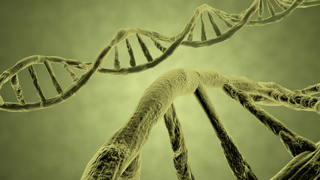 bioengineering: DNA strand yellow 3d rendering with clipping path