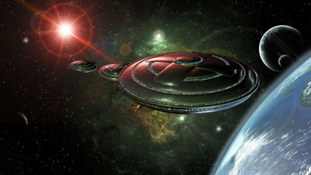 ufos: UFOs in space reaching a planet 3d rendering