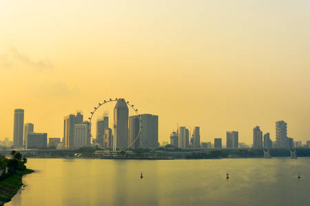 barrage: View of Marina Barrage at sunset in Singapore at haze
