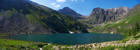 altay: panorama Lake from altay mountains