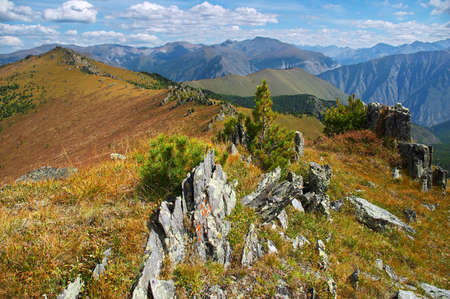 altay: yellow mountains landscape, Altay Stock Photo