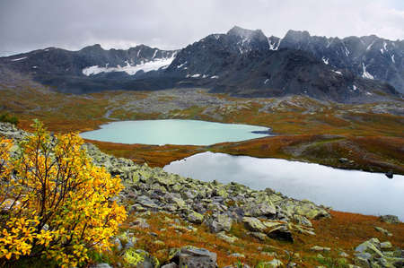 altay: Two Lakes in the mountains, Altay Stock Photo