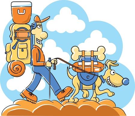 Caminante feliz con su perro bien alimentado