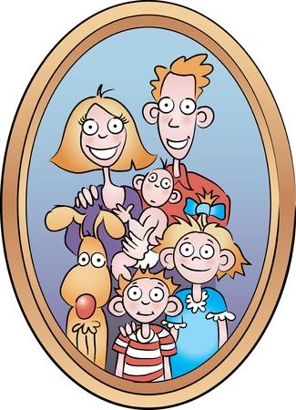 Cartoon Family Portrait Illustration