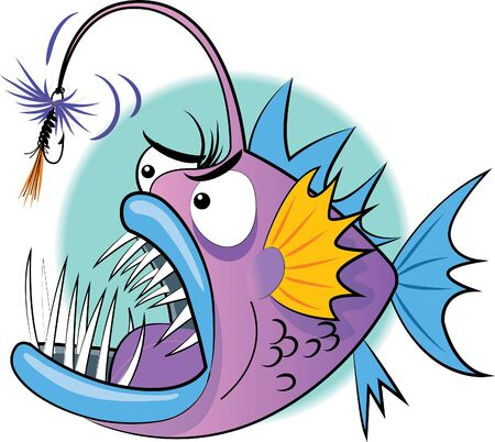 An Angler Fish sporting a tied fly instead of dongle  イラスト・ベクター素材