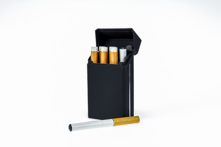 Electronic cigs and pack on a white background  photo