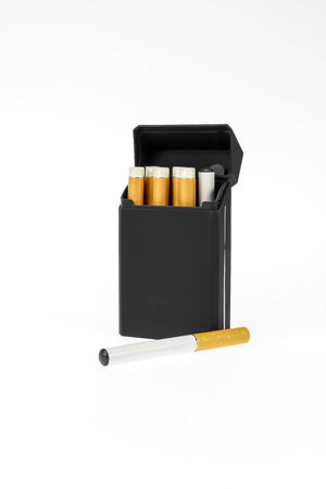 Electronic cigs and pack on a white background