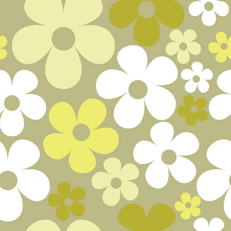 Vector Gray Background Floral Seamless Pattern