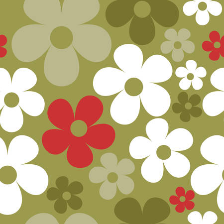 Vector Green Background Floral Seamless Pattern