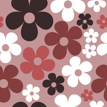 Vector Purple Background Floral Seamless Pattern 向量圖像