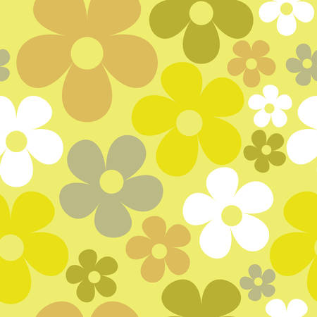 Vector Yellow Background Floral Seamless Pattern