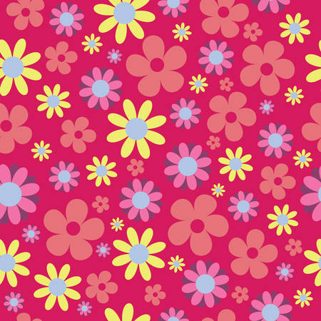 Vector Pink Background Floral Seamless Pattern